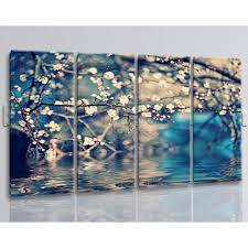 flower above water painting living room 4 pieces art print oversized flower above water painting living room 4 pieces art print