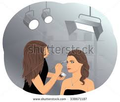 makeup artist in beautiful woman applying makeup by stock vector 338671187