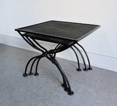 salterini mid century modern wrought iron patio nesting tables for
