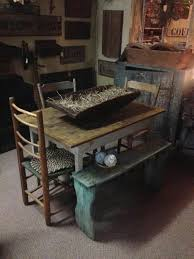 Best Prim  Colonial Kitchens And Diningrooms Images On - Primitive kitchen tables