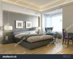 modern hotel room large bed contemporary stock illustration