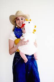 farmer and chicken babywearing costume happy baby halloween
