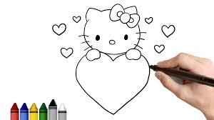 draw kitty valentine u0027s drawing kids