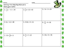 solving two step equations worksheets st patrick u0027s day by math