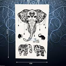 1pc black thailand elephant temporary tattoo sticker waterproof