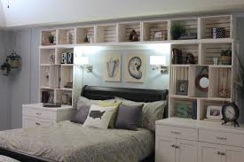 great massive brown hardwood headboard with shelves and lighting magnificent huge white diy headboard with shelves from crate material