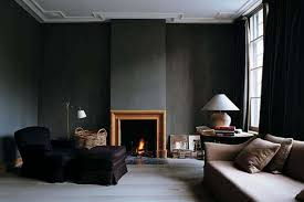 Black Paint For Fireplace Interior Black Interior Paint Wall With Fireplace And Sofa And Black