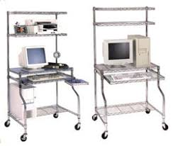 Wire Shelving Desk Mobile Wire Computer Workstation With Caster House Way Furniture