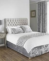 Quilted Bed Frame Pile Crushed Velvet Silver Grey Large Quilted Bed Runner