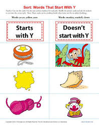 words starting with letter y beginning consonant worksheets