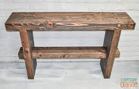 Orange Console Table Diy Chunky Rustic Console