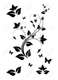 black and white floral ornament vector illustration royalty free