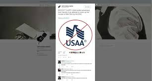 a tweet targets s a based usaa for canceling advertising on the conservative sean hannity fox