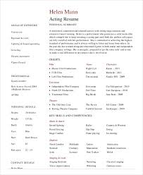 Theatrical Resume Sample by Actor Resume Example 7 Free Word Pdf Documents Download Free