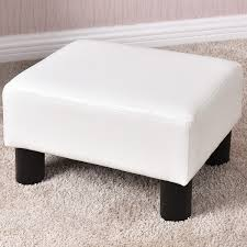 costway small ottoman footrest pu leather footstool rectangular