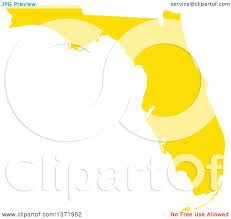 State Of Florida Map by Clipart Of A Yellow Silhouetted Map Shape Of The State Of Florida