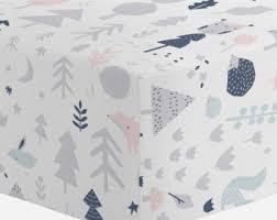 woodland crib sheet etsy