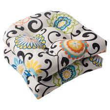 pillow perfect outdoor indoor pom pom play peachtini wicker seat