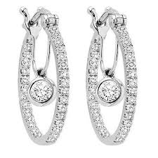 gold diamond hoop earrings 14k white gold 1 2cttw diamond hoop earrings with diamond dangle
