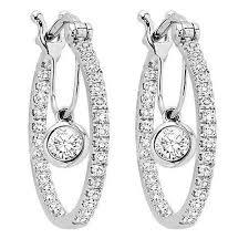 white gold diamond hoop earrings 14k white gold 1 2cttw diamond hoop earrings with diamond dangle