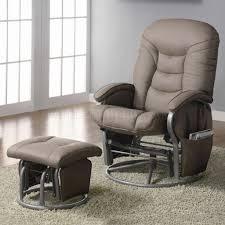 Swivel Glider Chairs by Beige Leatherette Modern Swivel Glider Chair W Ottoman
