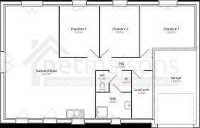 plan maison 3 chambres plain pied plan maison plain pied 3 chambres 110m2 adorablement plan maison