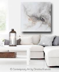 Wall Art Sets For Living Room Original Art White Grey Abstract Painting Modern Canvas Prints