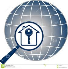 magnifier with key house and planet silhouette royalty free stock