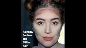 rainbow contour and glitter hair easy halloween makeup youtube