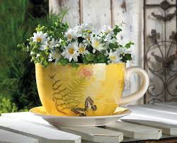 teacup planter large decorative outdoor planters garden butterfly