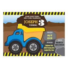 dump truck birthday invitations u0026 announcements zazzle