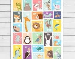 Abc Nursery Decor Alphabet Poster Etsy