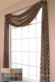 Custom Sheer Drapes Diva Diamond Semi Sheer Scarf Swag Window Topper Available In 7 Colors