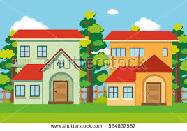 two houses two houses park illustration stock vector 554837587
