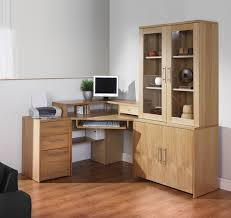 corner pine wood computer desk with glass door display cabinet of