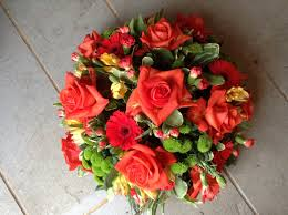 Table Flowers by Funeral Flowers Orange Flower Posy Vibrant Orange Roses Funeral