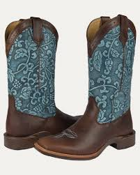 womens boots outfitters s all around square toe floral embossed chocolate