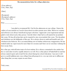College Letter Of Recommendation From 6 College Recommendation Letter Format Quote Templates