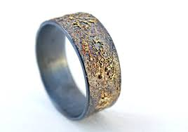 fusion wedding band mens wedding band molten gold silver unique mens ring gold