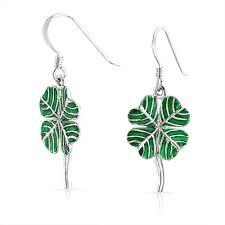 Shamrock Green Green Shamrock Lucky Four Leaf Clover Dangle Earrings 925 Silver