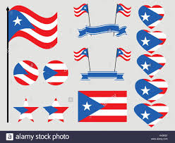 Puerto Rico Flag Puerto Rico Flag Set Symbols Flag In Heart Vector Illustration