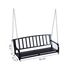 Swing Bench Outdoor by Aosom Outsunny 2 Person Outdoor Porch Swing Bench Black Pop