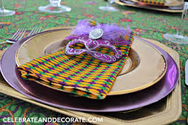 mardi gras tablescape and dinner for four celebrate decorate