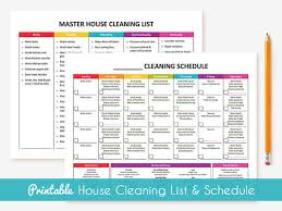 printable house cleaning schedule printable cleaning schedule master house cleaning list
