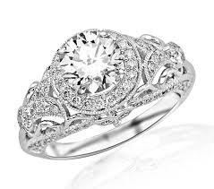 vintage style engagement rings 1 45 carat round cut round diamond engagement ring 14k white gold