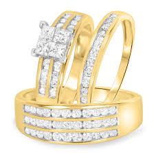 matching wedding rings 1 5 8 carat t w diamond trio matching wedding ring set 14k yellow