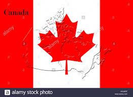 Canada On A Map Canadian National Flag With Map Of Canada On It In Red And White
