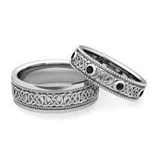 black wedding rings his and hers his hers celtic wedding band in 18k gold milgrain black ring