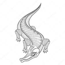 henna coloring pages hand drawn zentangled crocodile for coloring pages in dood