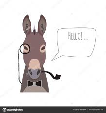 vector hipster donkey wearing bowtie monocle and pipe saying